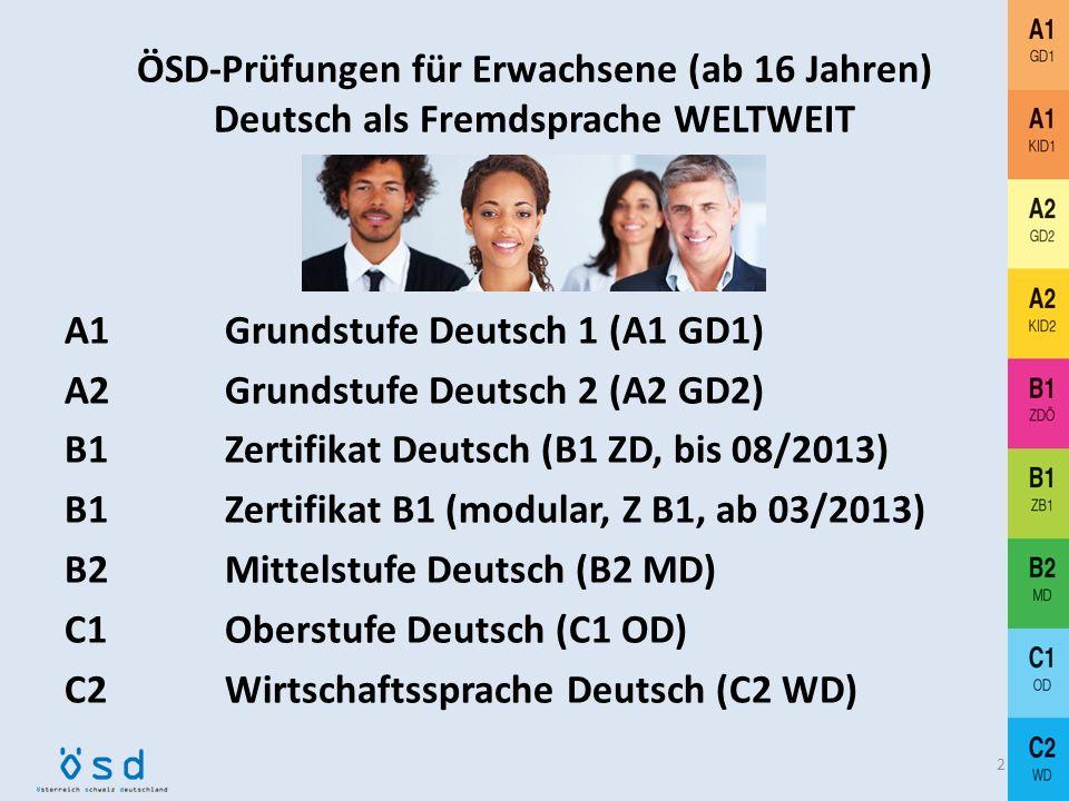 ÖSD-Prüfungen für Erwachsene (ab 16 Jahren) Deutsch als Fremdsprache WELTWEIT