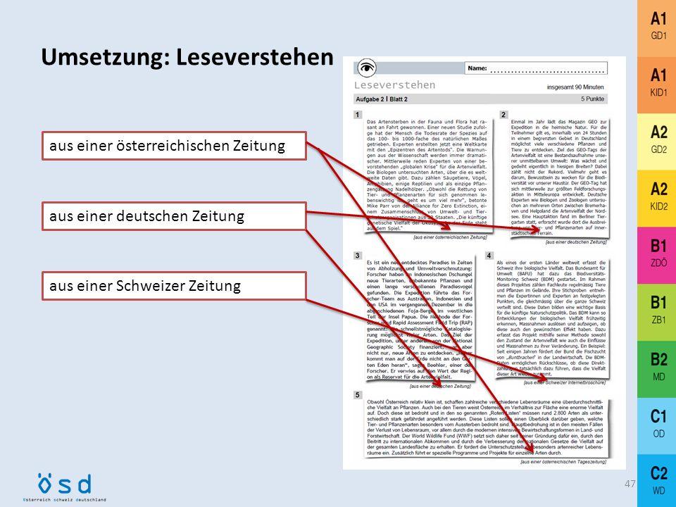 Umsetzung: Leseverstehen