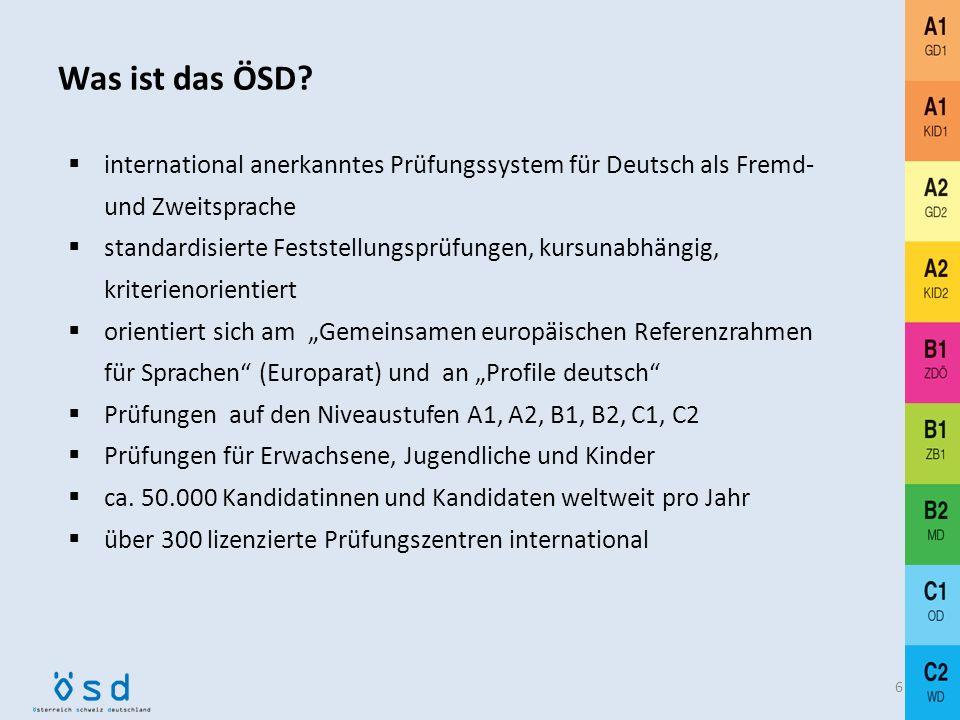 Was ist das ÖSD international anerkanntes Prüfungssystem für Deutsch als Fremd- und Zweitsprache.