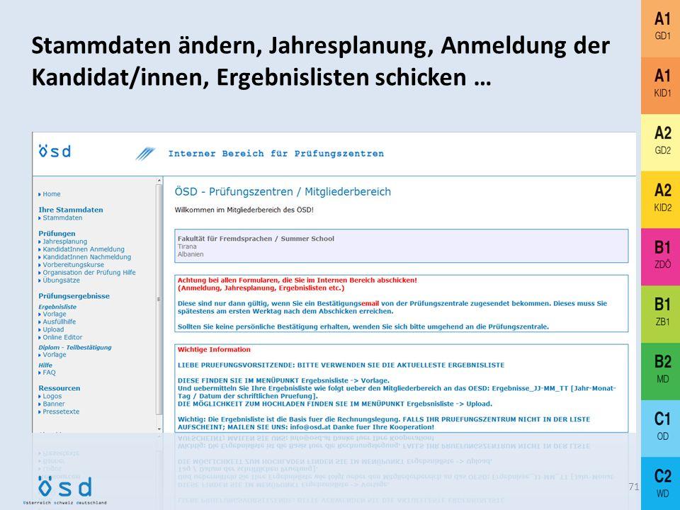 Stammdaten ändern, Jahresplanung, Anmeldung der Kandidat/innen, Ergebnislisten schicken …