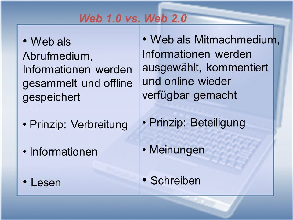 Web 1.0 vs. Web 2.0 Web als Mitmachmedium, Informationen werden. ausgewählt, kommentiert. und online wieder.
