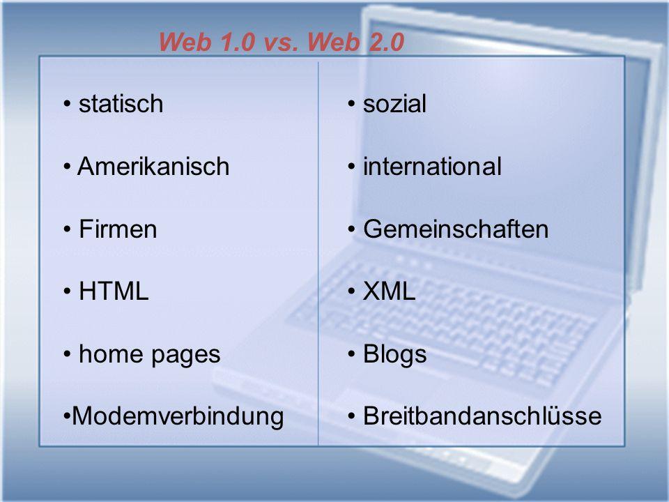 Web 1.0 vs. Web 2.0 statisch. Amerikanisch. Firmen. HTML. home pages. Modemverbindung. sozial.