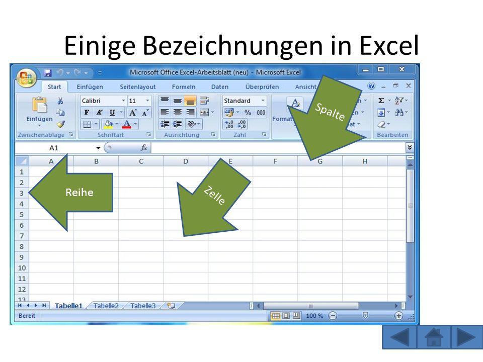 Einige Bezeichnungen in Excel