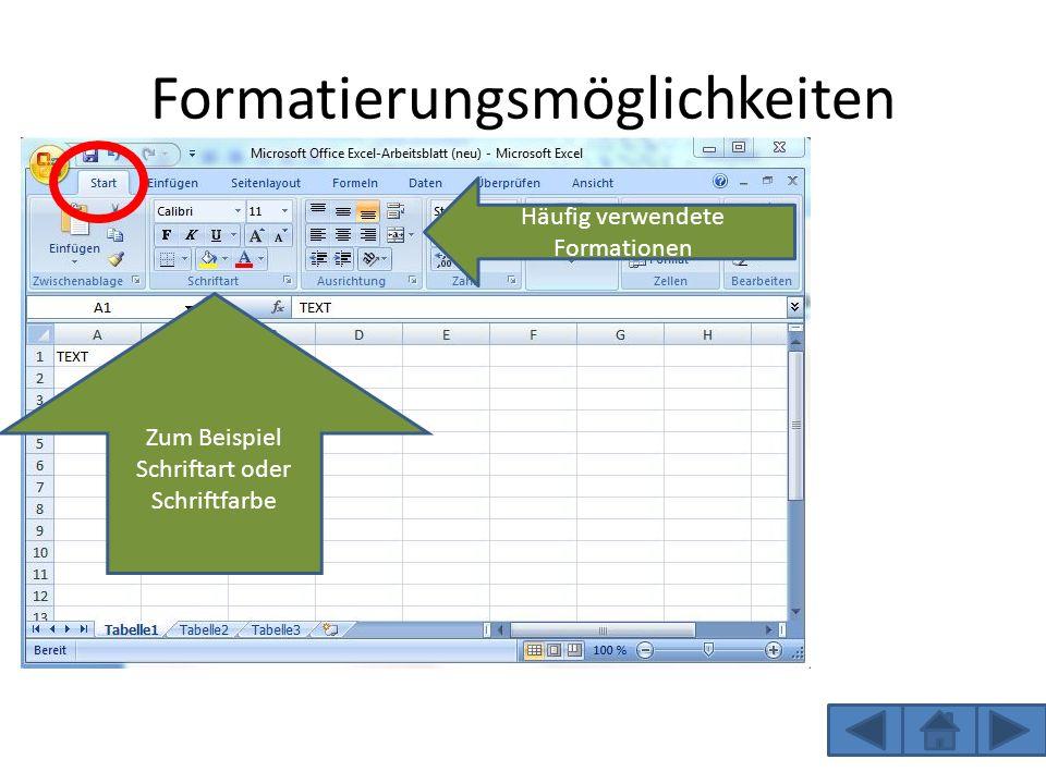 Formatierungsmöglichkeiten