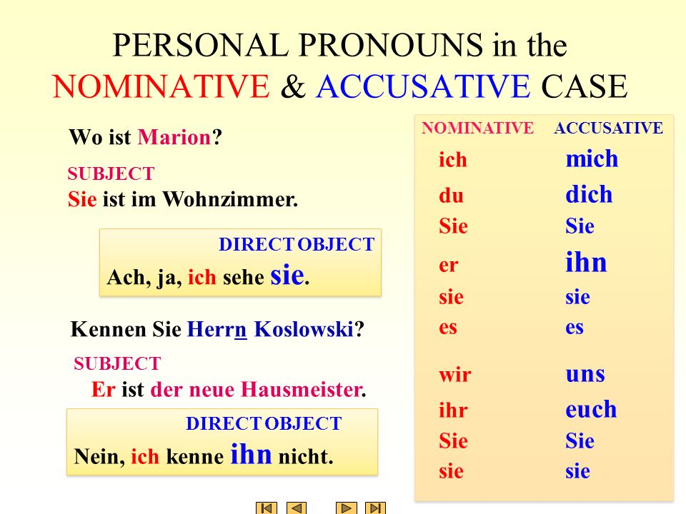PERSONAL PRONOUNS in the NOMINATIVE & ACCUSATIVE CASE