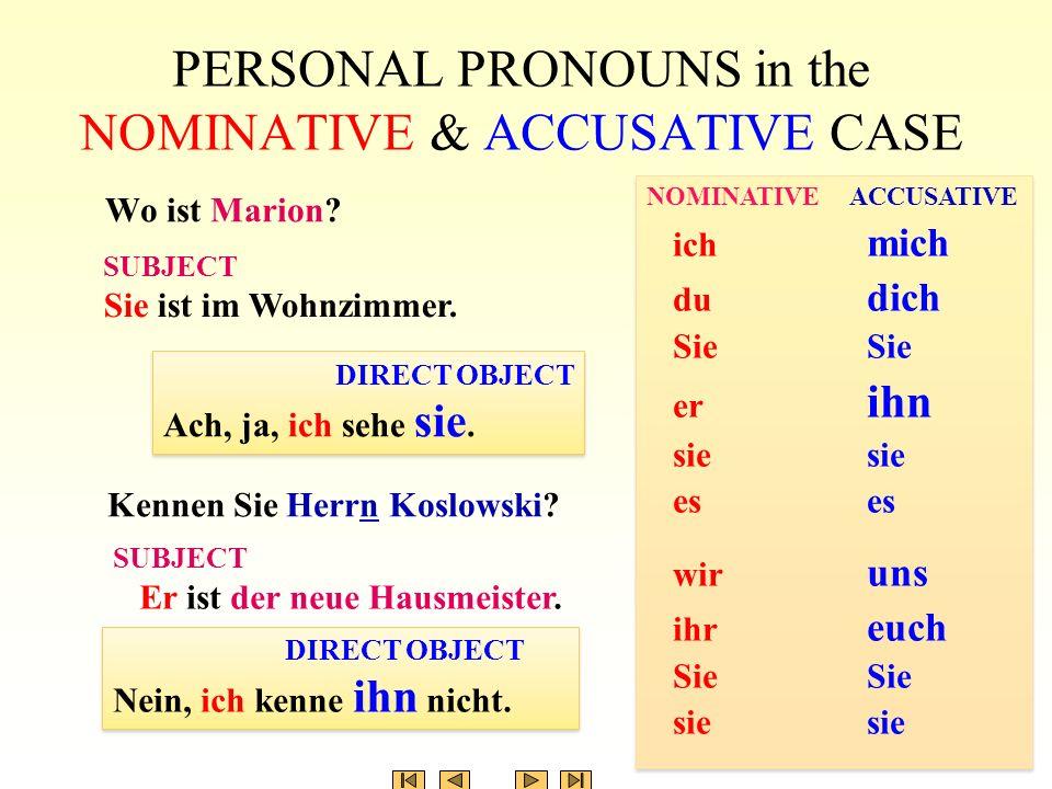 PERSONAL PRONOUNS in the NOMINATIVE & ACCUSATIVE CASE