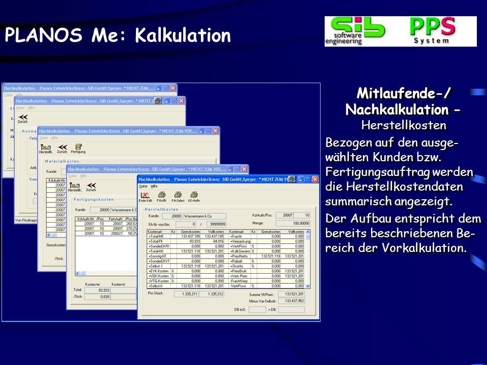 Mitlaufende Kalkulation / Projektstandsanalyse