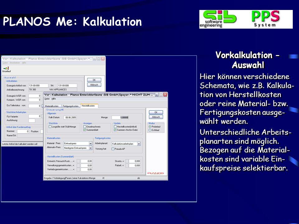 Vorkalkulation - Material