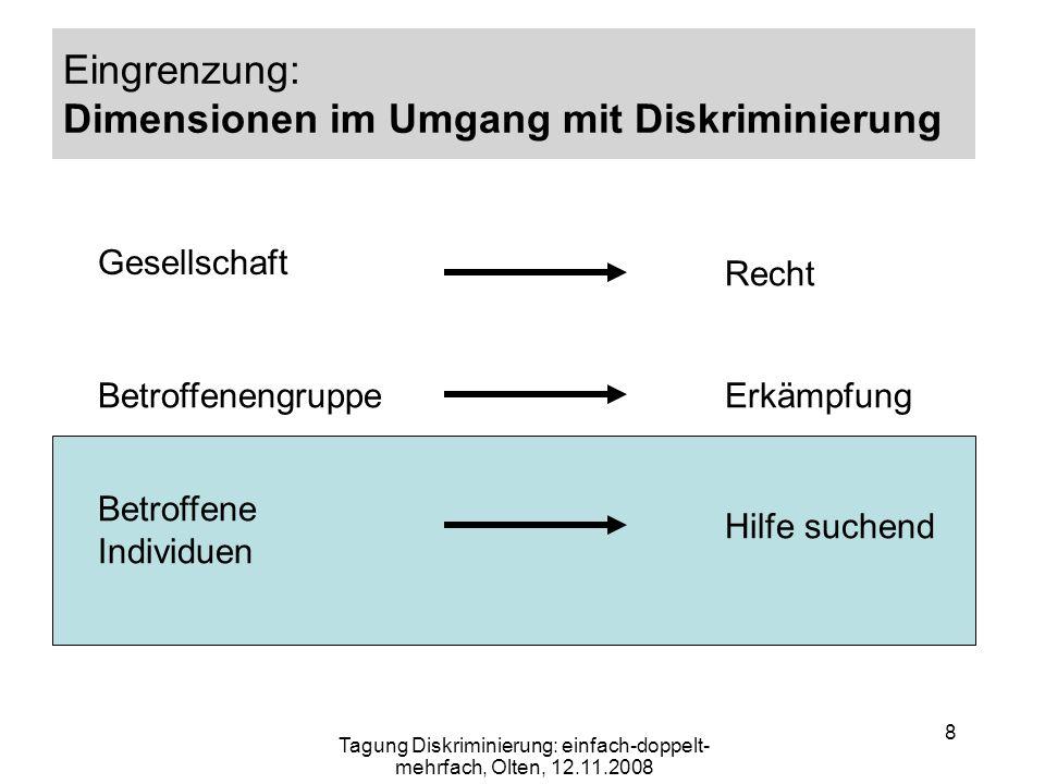 Eingrenzung: Dimensionen im Umgang mit Diskriminierung