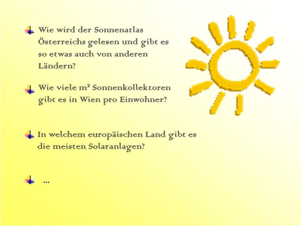 Wie wird der Sonnenatlas Österreichs gelesen und gibt es so etwas auch von anderen Ländern