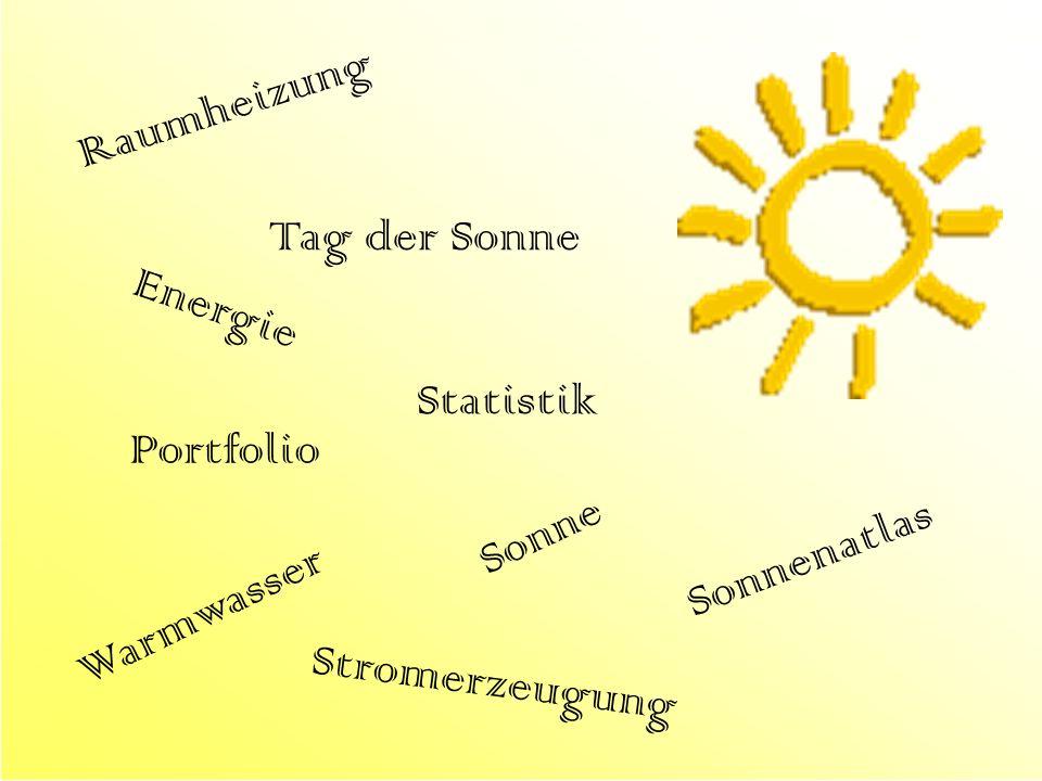 Raumheizung Tag der Sonne Energie Statistik Portfolio Sonne Sonnenatlas Warmwasser Stromerzeugung