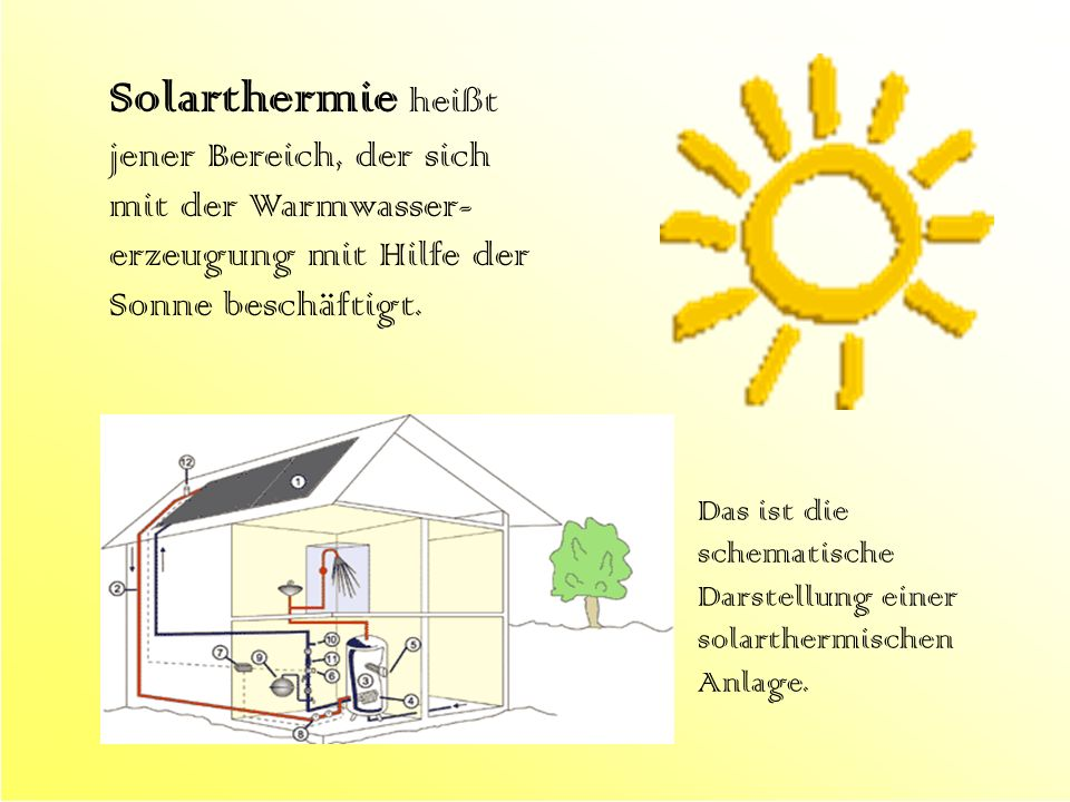 Solarthermie heißt jener Bereich, der sich mit der Warmwasser-erzeugung mit Hilfe der Sonne beschäftigt.
