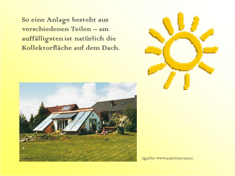 So eine Anlage besteht aus verschiedenen Teilen – am auffälligsten ist natürlich die Kollektorfläche auf dem Dach.