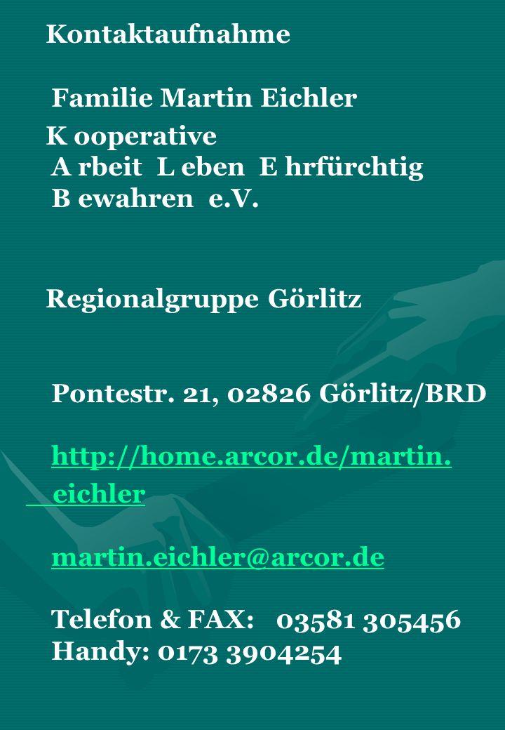 Kontaktaufnahme Familie Martin Eichler