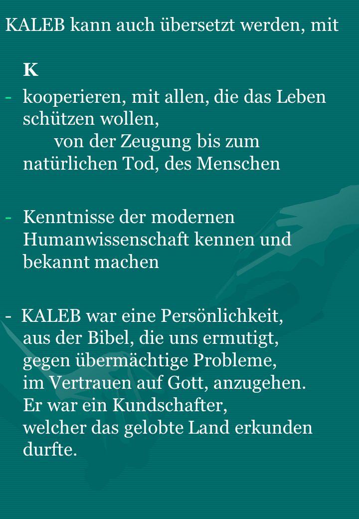 KALEB kann auch übersetzt werden, mit K