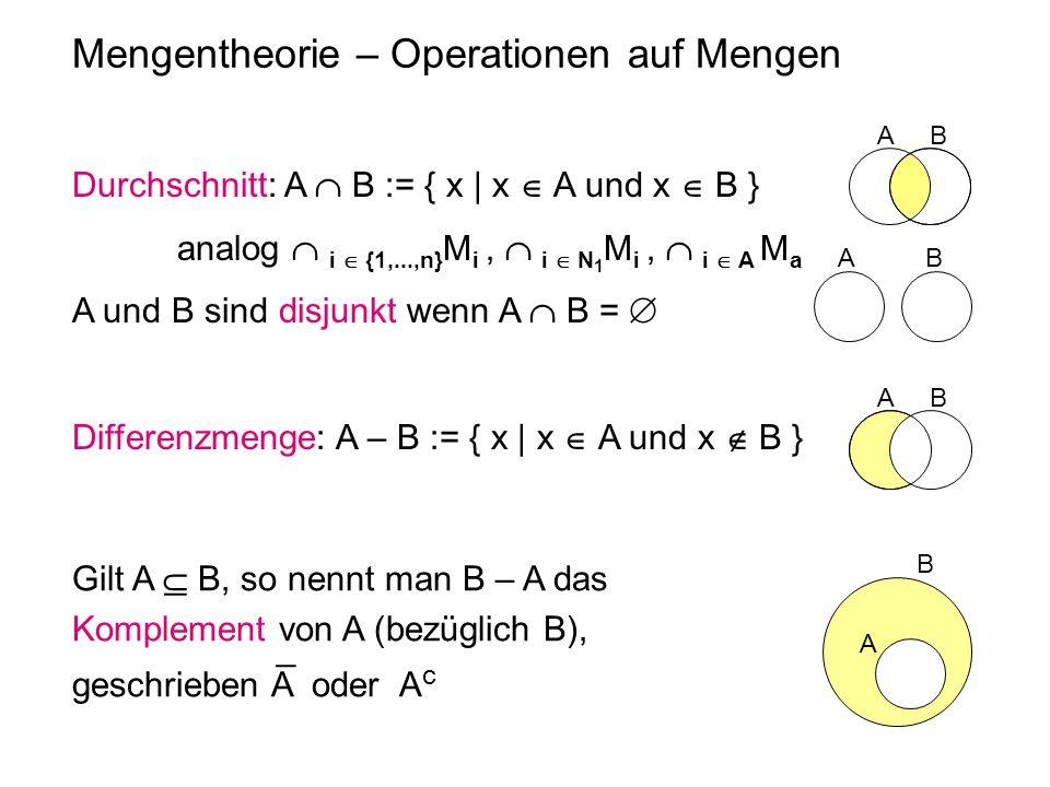 Mengentheorie – Operationen auf Mengen