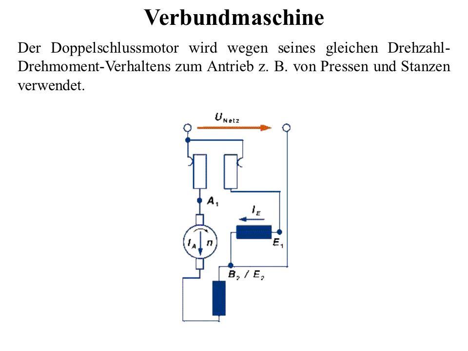 Verbundmaschine Der Doppelschlussmotor wird wegen seines gleichen Drehzahl-Drehmoment-Verhaltens zum Antrieb z.