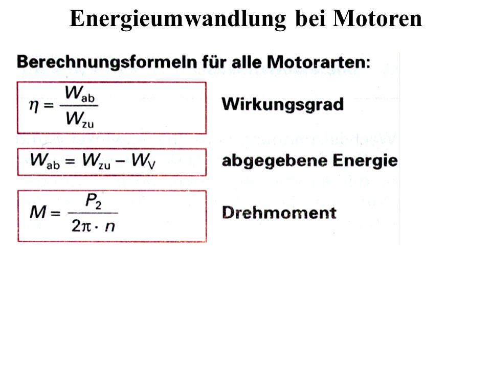 Energieumwandlung bei Motoren