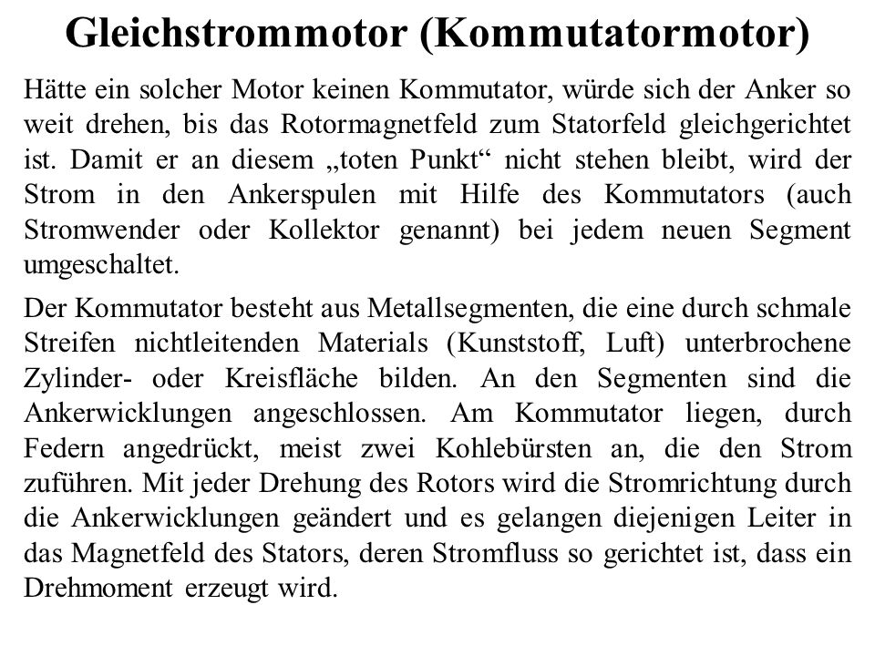 Gleichstrommotor (Kommutatormotor)