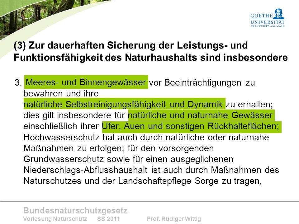(3) Zur dauerhaften Sicherung der Leistungs- und Funktionsfähigkeit des Naturhaushalts sind insbesondere