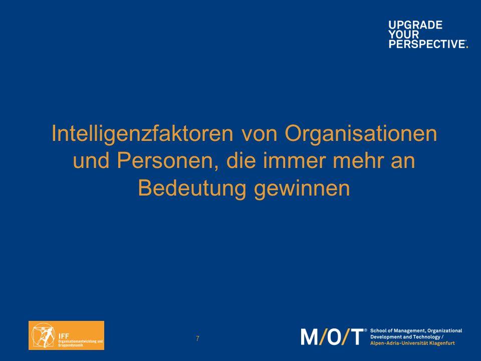 Intelligenzfaktoren von Organisationen und Personen, die immer mehr an Bedeutung gewinnen