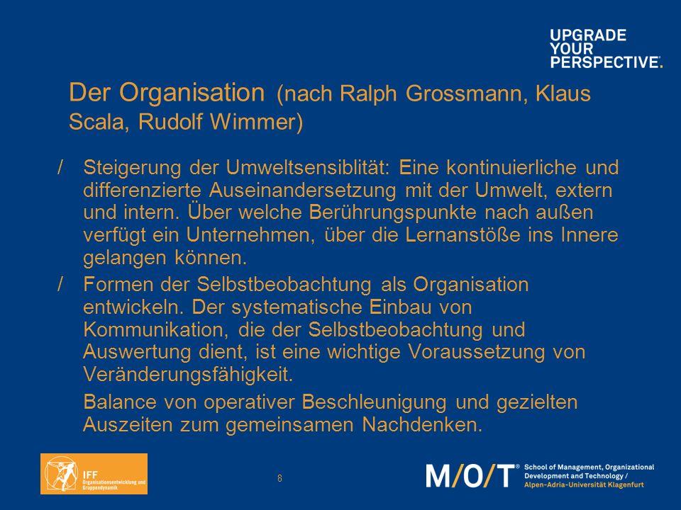 Der Organisation (nach Ralph Grossmann, Klaus Scala, Rudolf Wimmer)