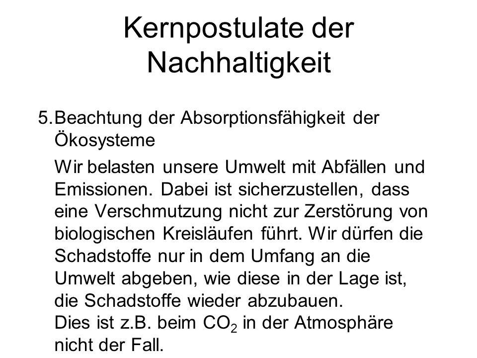 Kernpostulate der Nachhaltigkeit