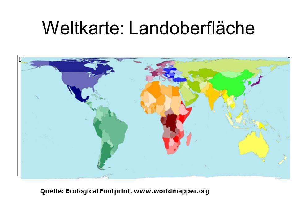 Weltkarte: Landoberfläche