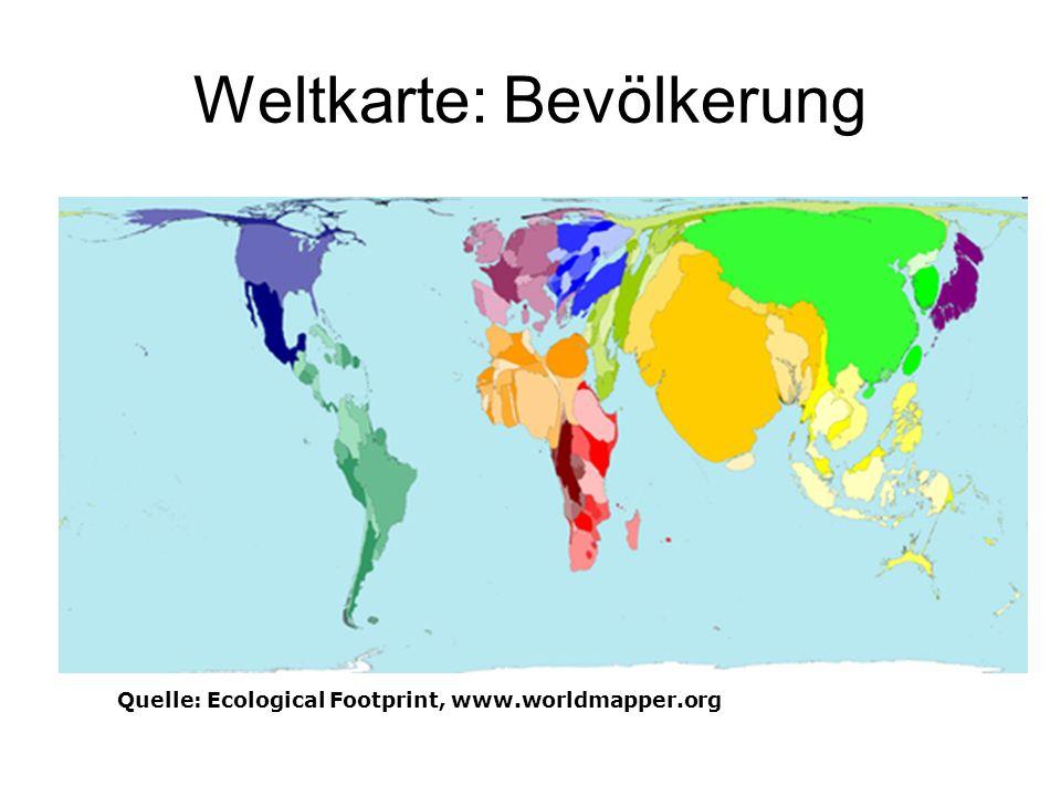Weltkarte: Bevölkerung