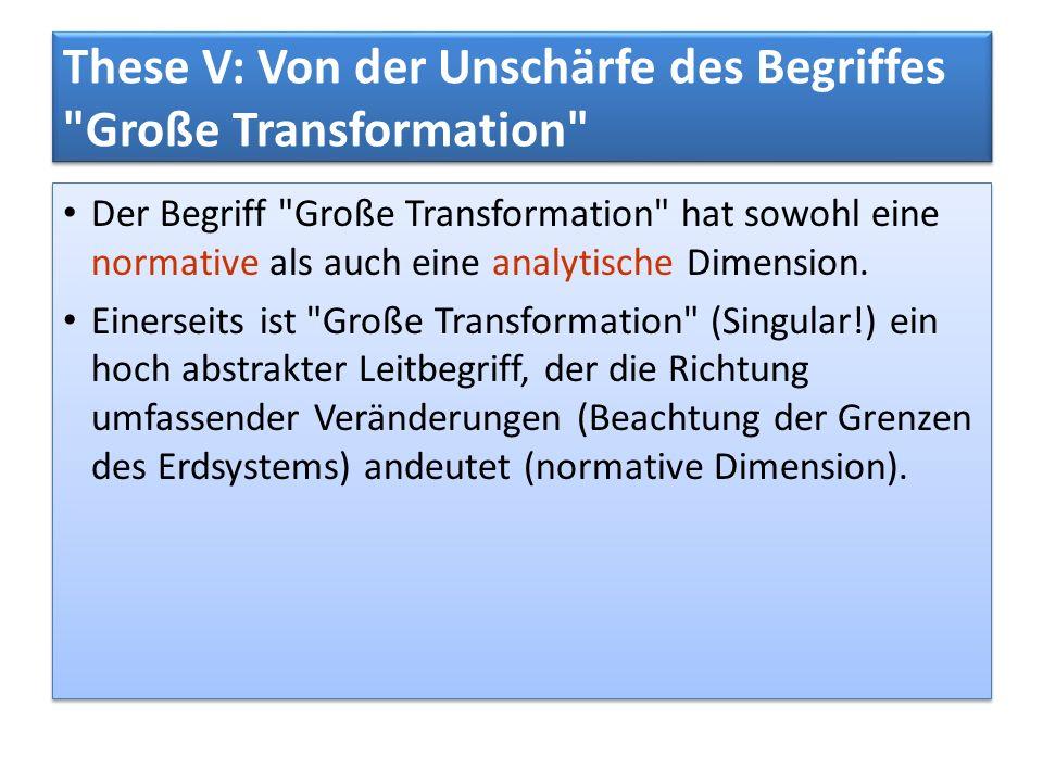 These V: Von der Unschärfe des Begriffes Große Transformation