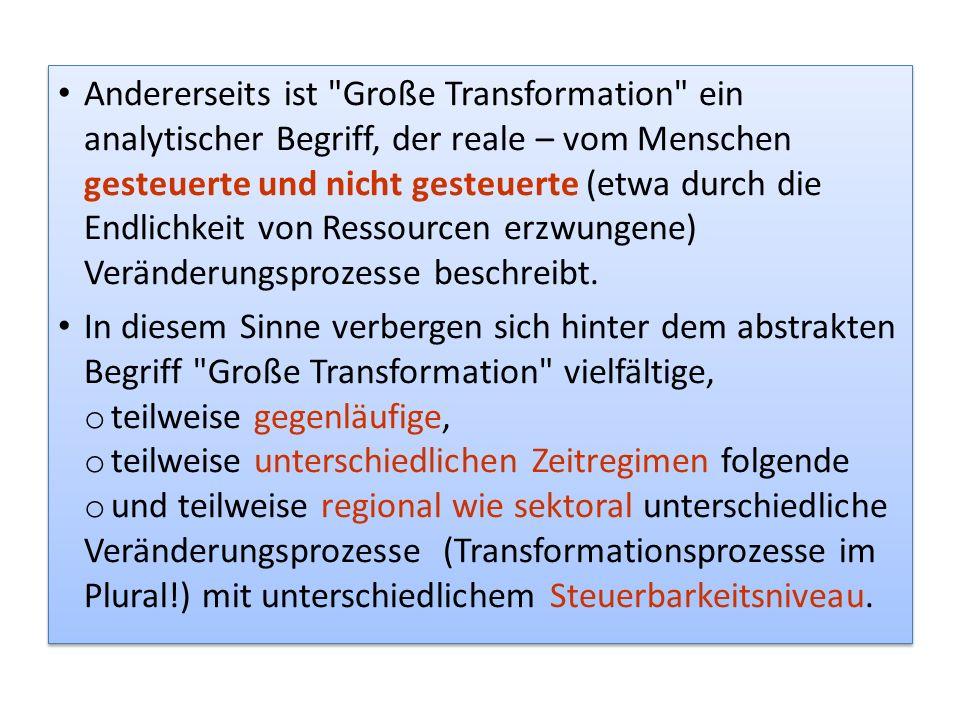 Andererseits ist Große Transformation ein analytischer Begriff, der reale – vom Menschen gesteuerte und nicht gesteuerte (etwa durch die Endlichkeit von Ressourcen erzwungene) Veränderungsprozesse beschreibt.