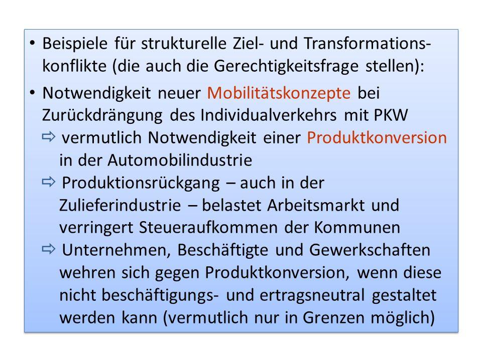 Beispiele für strukturelle Ziel- und Transformations-konflikte (die auch die Gerechtigkeitsfrage stellen):