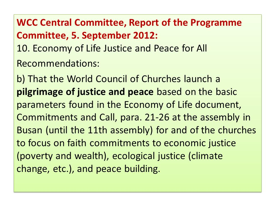 WCC Central Committee, Report of the Programme Committee, 5
