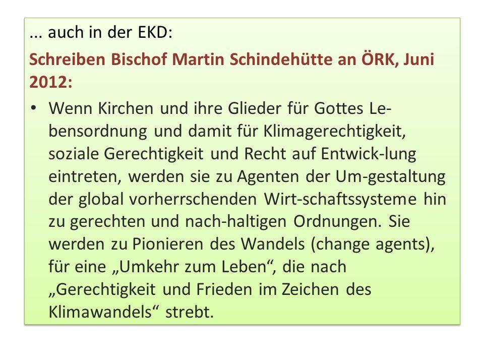 ... auch in der EKD: Schreiben Bischof Martin Schindehütte an ÖRK, Juni 2012: