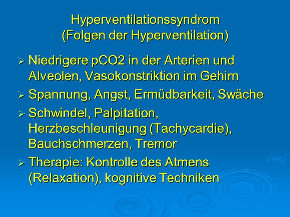 Hyperventilationssyndrom (Folgen der Hyperventilation)