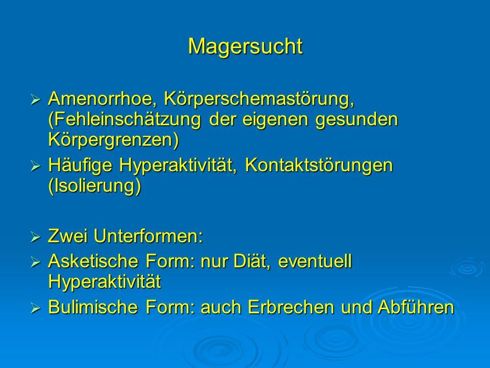 Magersucht Amenorrhoe, Körperschemastörung, (Fehleinschätzung der eigenen gesunden Körpergrenzen)