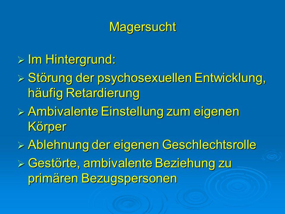 Magersucht Im Hintergrund: Störung der psychosexuellen Entwicklung, häufig Retardierung. Ambivalente Einstellung zum eigenen Körper.