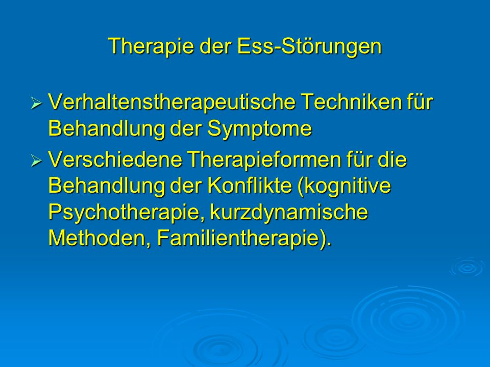 Therapie der Ess-Störungen