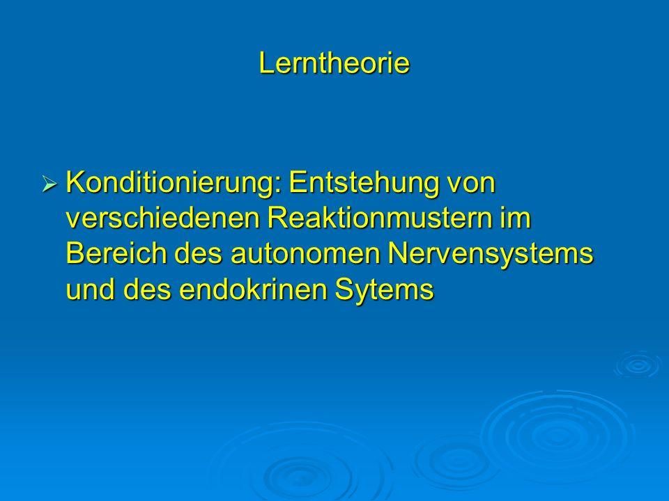 Lerntheorie Konditionierung: Entstehung von verschiedenen Reaktionmustern im Bereich des autonomen Nervensystems und des endokrinen Sytems.