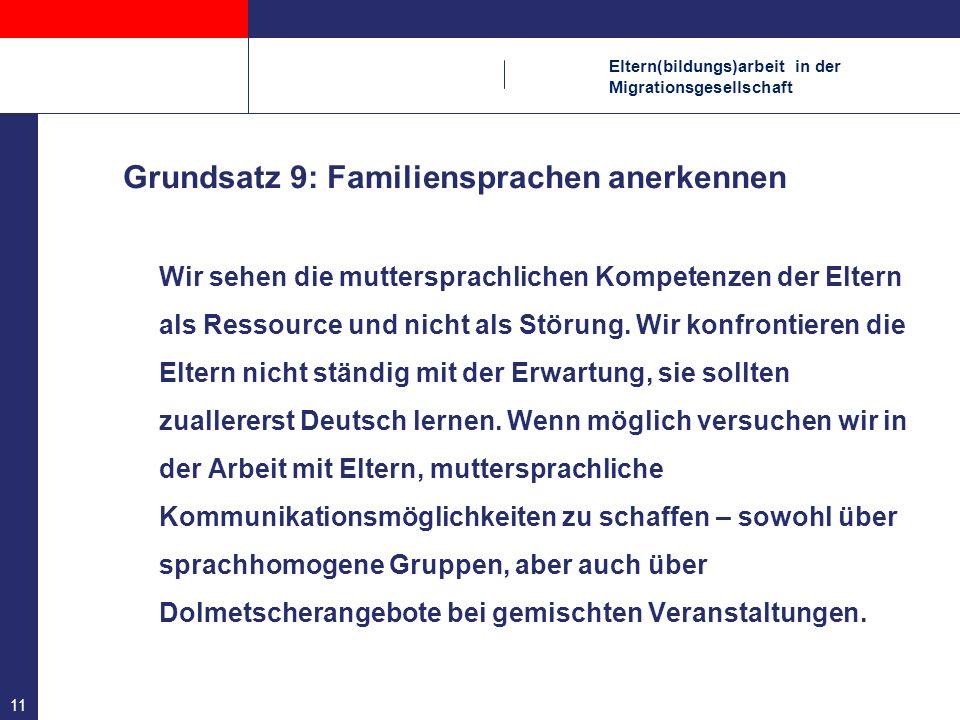 Grundsatz 9: Familiensprachen anerkennen