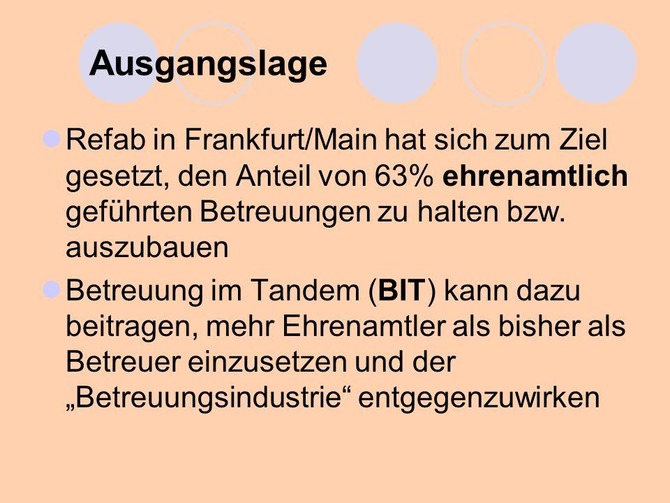 Ausgangslage Refab in Frankfurt/Main hat sich zum Ziel gesetzt, den Anteil von 63% ehrenamtlich geführten Betreuungen zu halten bzw. auszubauen.
