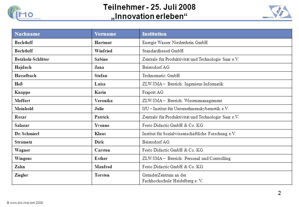 "Teilnehmer - 25. Juli 2008 ""Innovation erleben"