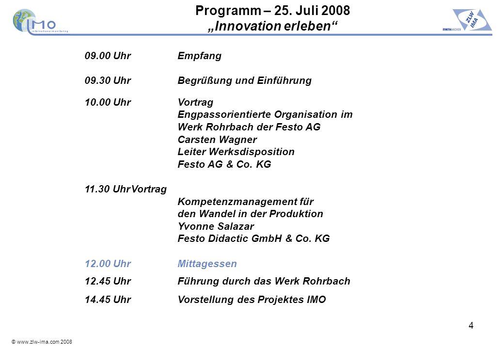 "Programm – 25. Juli 2008 ""Innovation erleben"