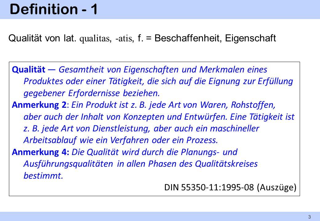 Definition - 1 Qualität von lat. qualitas, -atis, f. = Beschaffenheit, Eigenschaft.