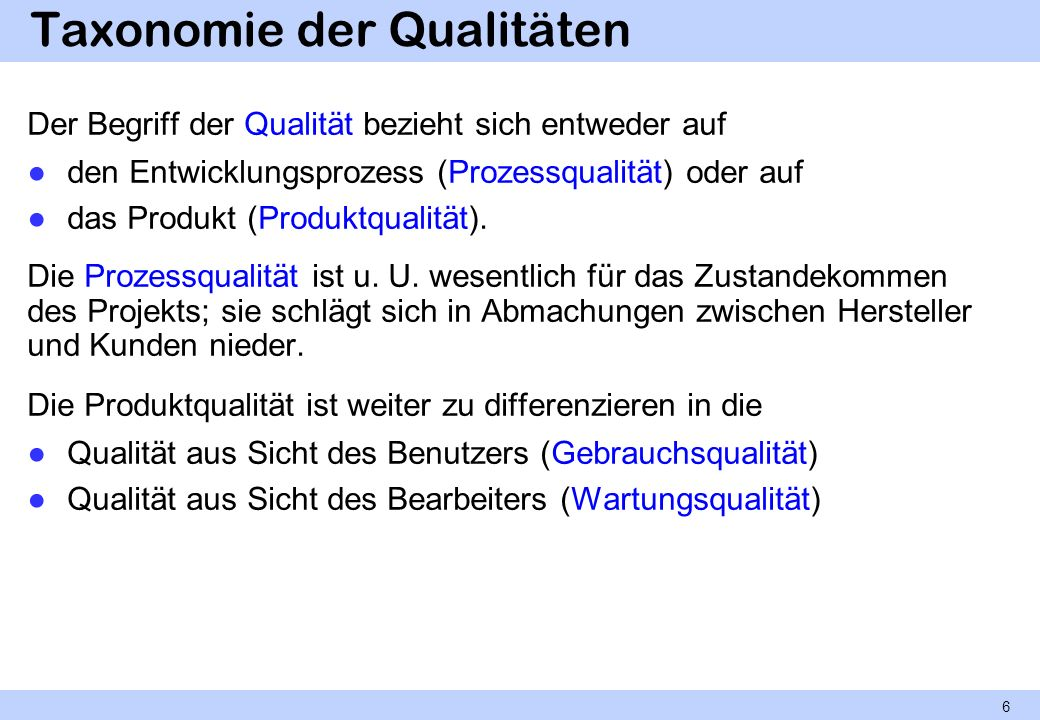 Taxonomie der Qualitäten