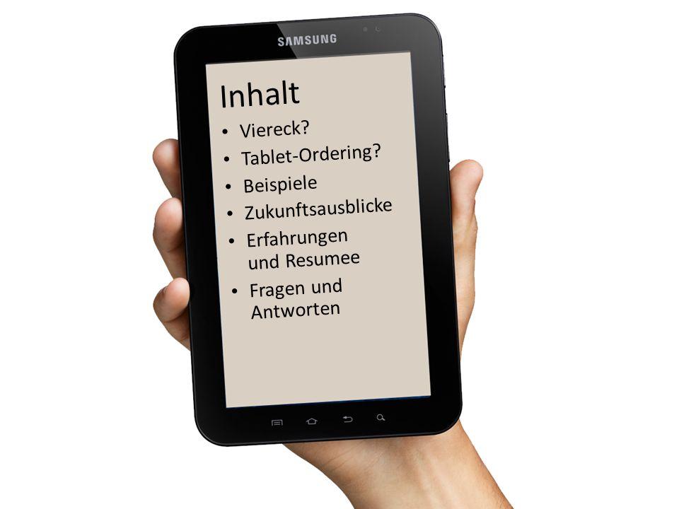 Inhalt Viereck Tablet-Ordering Beispiele Zukunftsausblicke