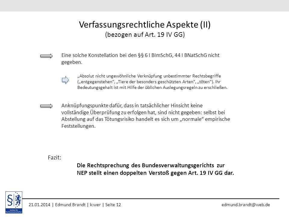 Verfassungsrechtliche Aspekte (II) (bezogen auf Art. 19 IV GG)