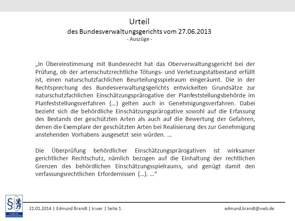 Urteil des Bundesverwaltungsgerichts vom 27.06.2013 - Auszüge -