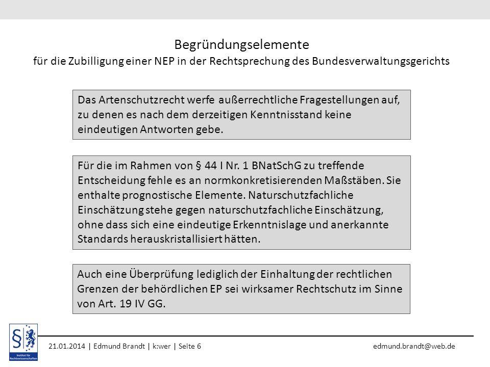 Begründungselemente für die Zubilligung einer NEP in der Rechtsprechung des Bundesverwaltungsgerichts