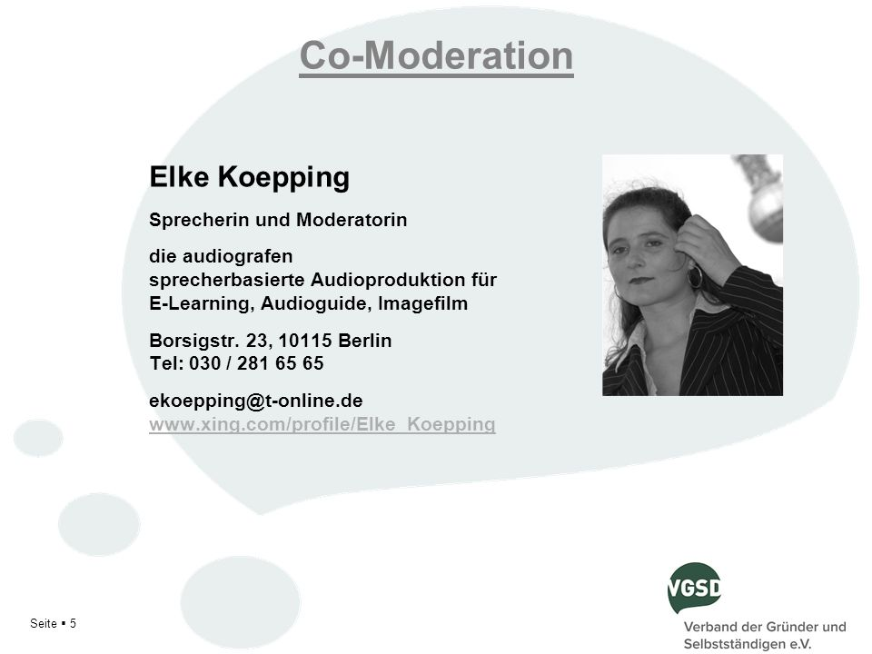 Co-Moderation Elke Koepping Sprecherin und Moderatorin
